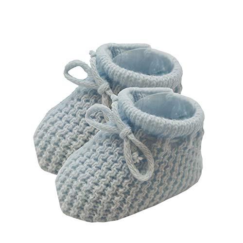 Patucos punto para bebé recién nacido, tamaño de 0 a 3 meses, color rosa, blanco, crema o azul. azul...