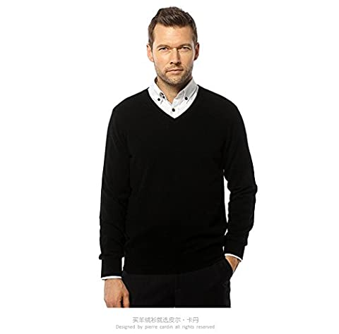 YIJIA Men's Casual V-Neck Long Sleeve Sweater Winter Cashmere Knitted Pullovers Puls Size Black XL Size