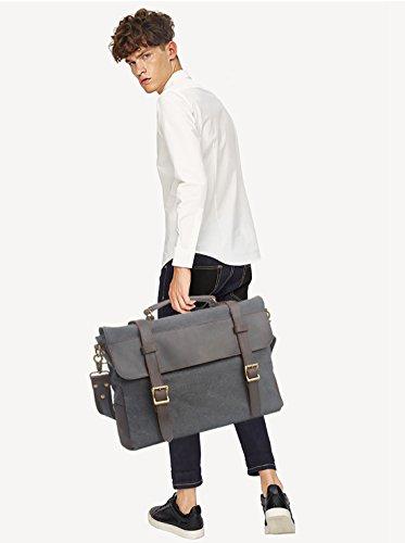 FANDARE Vintage Messenger Bag Umhängetasche Schultertasche 14.6 Laptoprucksäcke Tasche Kuriertasche Canvas Khaki Dunkelgrau
