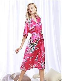 9deeb3c44336 Accappatoio Femminile LQY-Z Accappatoio con Stampa Floreale Kimono Dress  Gown Stile Cinese Satin di Seta Abito Camicia da Notte Fiore Sml…