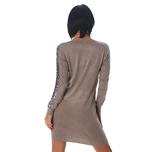 Jela London Damen Kleid Minikleid Mini Pullover Longshirt Pailletten V-Ausschnitt Latte Macchiato