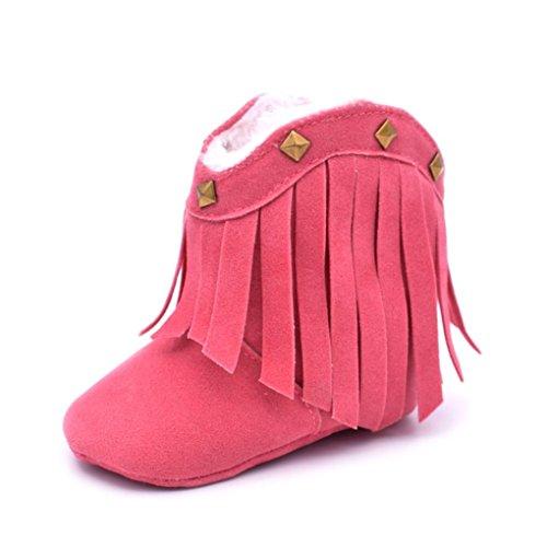 Longra Chaussures le Bébé Baby Soft Bottes de neige Soft Chaussures Berceau Chaussures Toddler Tassel Rivet (13, Rose vif) Rose vif