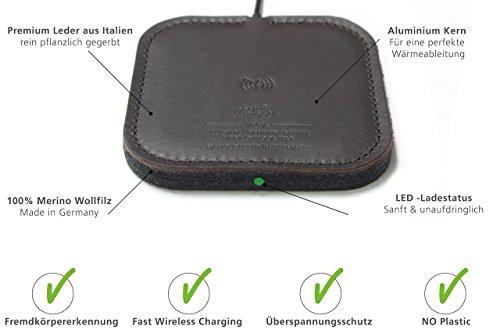 Pack & Smooch - 10W / 7.5W Fast Wireless Charger Taurus aus Leder und Wollfilz für iPhone X/8 Plus/8 und Samsung Galaxy S9/S9 Plus/S8/S8 Plus und alle Qi-fähigen Geräte (Dunkelbraun)