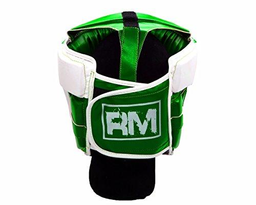 RingMasterUK Kopfschutz für Kinder, Kopfbedeckung für Boxen, Kampfsport, Kickboxen, Kinder, grün, X-Small Abbildung 2