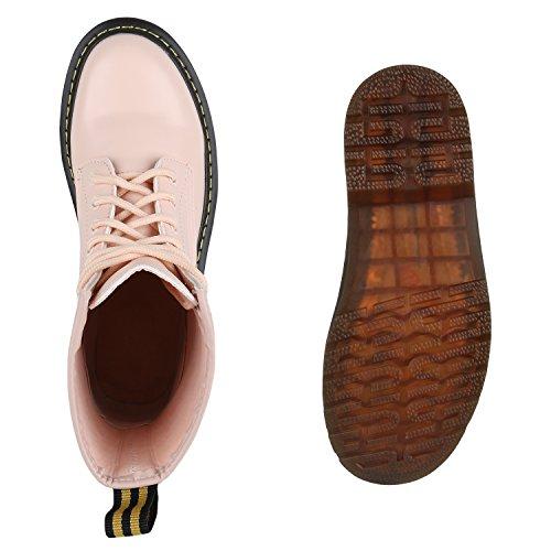 Damen Worker Boots Lack Stiefeletten Grunge Profil Sohle Punk Rosa ... 0a1274dfe7