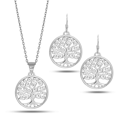 In argento Sterling placcato al rodio, a forma di albero della vita, 45,72 cm (18