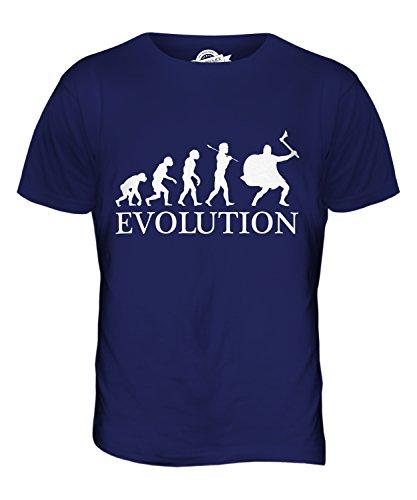 CandyMix Wikinger Evolution Des Menschen Herren T Shirt, Größe 2X-Large, Farbe Navy Blau