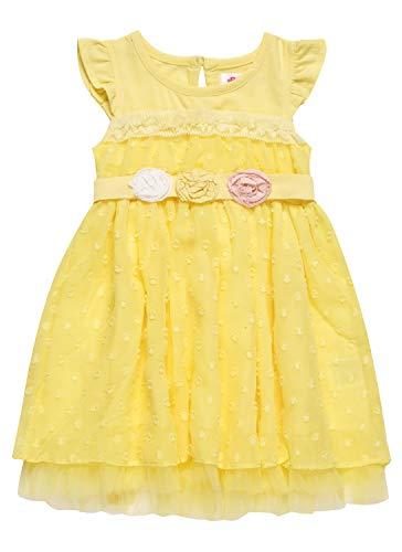BONNY BILLY Baby Mädchen Kleidung Sommer Baumwolle Chiffon Punkte Ostern Kleid mit Rüschen 2-3 Jahre/92-98 Gelb (Rosa Kleider Für Kleine Mädchen)
