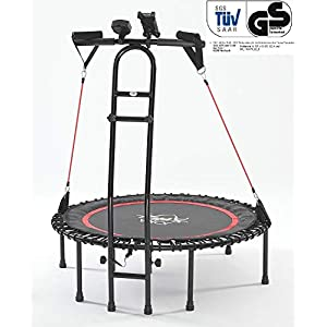 JOKA FIT NEU – die Trampolin-Innovation, Fitnesstrampolin 2.0, mit Sprungzähler, Widerstandsbänder, DVD, Handyhalterung. be fit with