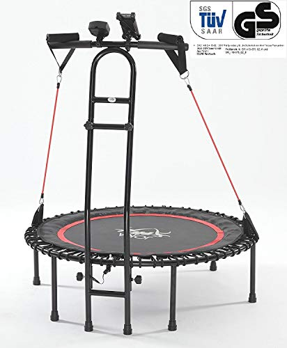 JOKA FIT Trampolin-Innovation, Fitnesstrampolin Cacau 2.0, mit Sprungzähler, Widerstandsbänder, DVD, Handyhalterung. be fit with