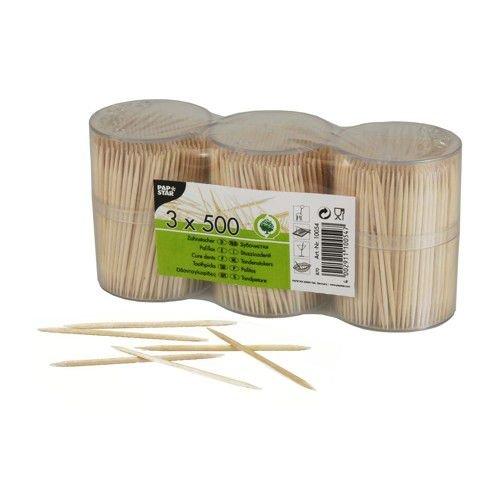 1500 Zahnstocher, Holz rund 6,7 cm in Dose PS10054