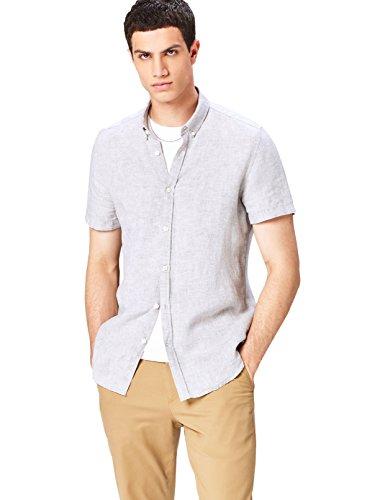 Find camicia in lino taglio sartoriale uomo, grigio, small