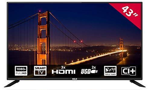 RCA RS43F1: 109 cm (43 Zoll) LED-Smart-TV-Fernseher (Full HD, Triple Tuner, HDMI, CI+, Mediaplayer per USB 2.0) [Energieklasse A]