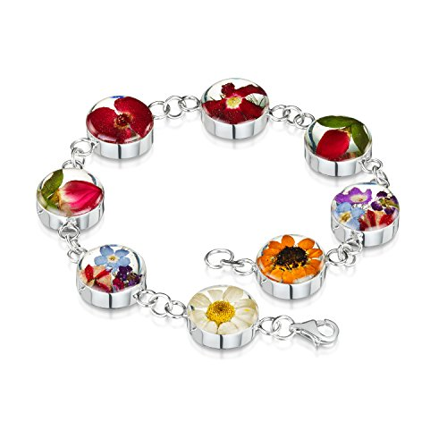 Shrieking Violet: Damen-Armband - Gemischte Blüten - rund - 925 Sterling Silber - 180 mm (Mohn Sterling Silber)