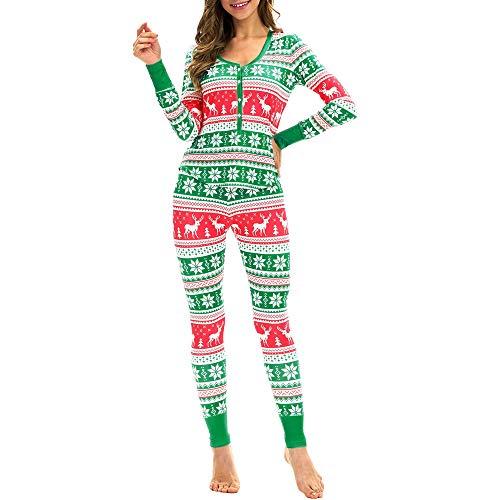 OverDose Damen Täglich Weiche Art Frauen Passende Elch Lange Ärmel Weihnachten Pyjamas Set Top Bluse + Hosen Home Party Karneval Anzug
