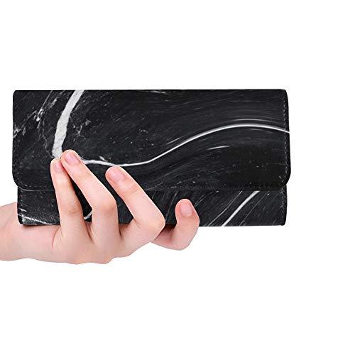 Einzigartige benutzerdefinierte schwarzer Marmortinte Textur Acryl gemalt Frauen Trifold Wallet Lange Geldbörse Kreditkarteninhaber Fall Handtasche