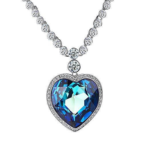 Yoursfs Halskette anhänger Damen Disco-Kugel-Form-hängende Kristall Halskette für Frauen/Weißgold vergoldet (Ozeanstern)