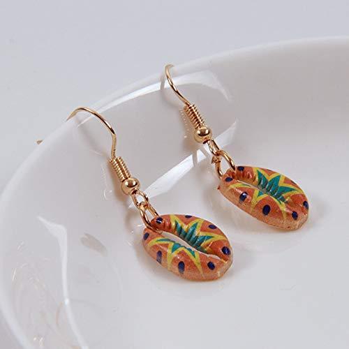Homeofying Vintage Frauen Floral Kauri Muschel baumeln Haken Ohrringe Sommer Strand Schmuck Geschenk Ohrringe für Frauen 2#