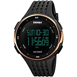 Men's Digital Watch Military Sports Watches for Men, Big Face Rubber Strap 50M Waterproof Rose Gold by FunkyTop