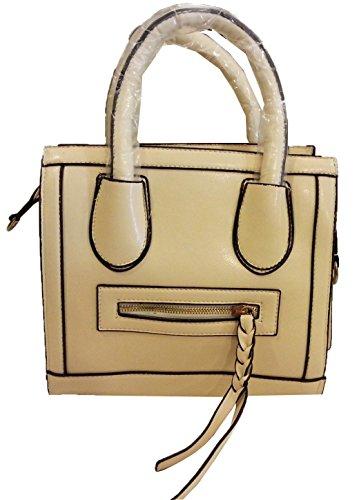 aimerfeel-Einfachheit vertikalen Schnitt Smiley Pendler Quadrat Handtasche ist die Show off, Farbe creme
