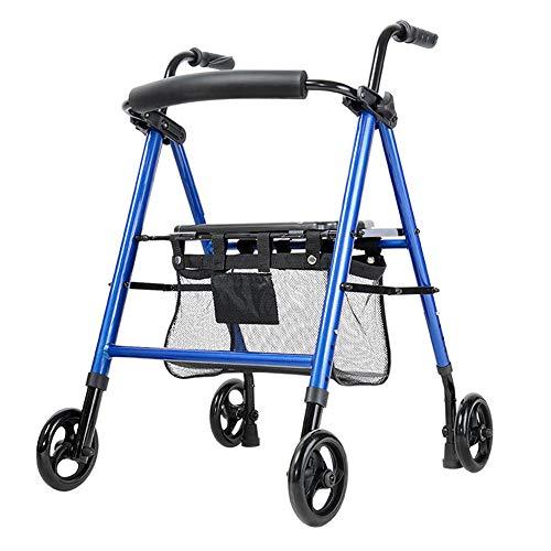 Beauty ZQ Old Man Trolley Walker Aluminiumlegierung Rad Mit Sitz Faltbar Warenkorb Höhenverstellbar Handbremsen Stoßdämpfer Reifen EIN Stuhl Mehrzweck