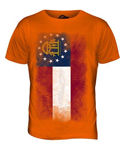 CandyMix Bundesstaat Georgia Verblichen Flagge Herren T Shirt Orange