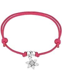 Tuscany Silver Silber Blume an  Rosa Kordel Freundschafts- Armband 21cm Verstellbar