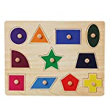 Rocita Wooden Peg Puzzle For Toddlers Learning Preschool Early Educational Development Colorful Wooden Peg Puzzle Jigsaw 1Pc Shape Category
