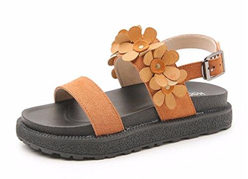 HN Shoes Damen Sommer Böhmen Süss Blume Eben Sandalen Riemchen Flip Flops Öffnen Zehe Mädchen Strand Schuhe, brown, EUR 41/UK 8 - Brown-blumen-mädchen-schuhe