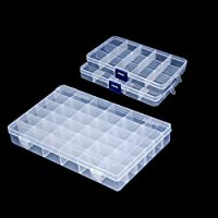 Snowkingdom Transparent Plastic Grid Box Storage Organizer for Display Collection with Adjustable Dividers