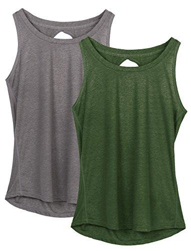 icyzone Damen Yoga Sport Tank Top - Rückenfrei Fitness Shirt Oberteil ärmellos Training Tops (XL, Grey/Green)