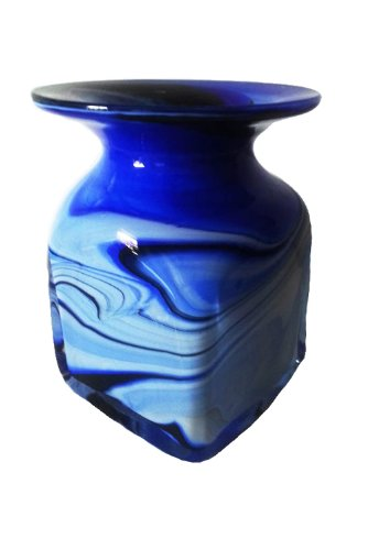 Vase eckig farbige Glasvase blau weiss beige marmoriert in Tintenfass Form dekorative Blumenvase für kleine Sträuße mundgeblasen Höhe ca. 10 cm Oberstdorfer Glashütte