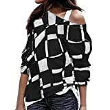 GreatestPAK Damen Pullover Größe Lange Ärmel Farbabstimmung schräger Kragen Oberteil Sweatshirt Plus Lang Farbe Passend Schräg Patchwork Oberteile Hemd