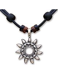 HANA LIMA ® Halskette Surferkette Tribalkette Lederkette Herren Damen Metallanhänger