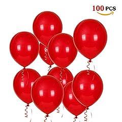 Idea Regalo - JOJOR Palloncini Rossi,100 Palloncini Elio Perlati 12 Pollici per Festa,Compleanno,Laurea,San Valentino,Matrimonio Anniversario Fidanzamento,Battesimo,Prima Comunione