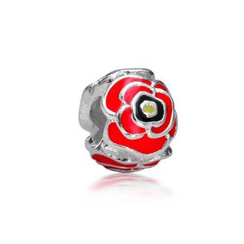Rosa Rose Blume Bead Charms Für Damen Für Jugendlich 925 Sterling Silber Passt Europäischen Armband