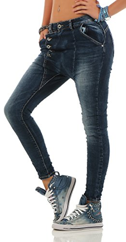 Lexxury Damen Boyfriends Baggy Stretch Jeans destroyed Look Damenhose Hüftjeans Denim Knopfleiste L18133 blue