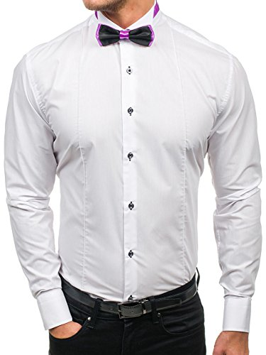 BOLF Herren Hemd Elegant mit Manschetten Elegante Fliege Casual Style 5786 Weiß XL [2B2]