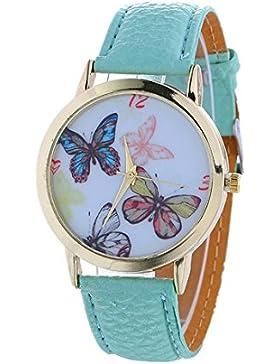 Vovotrade Damen Schmetterlings Muster Art und Weisefrauen färbte PU lederne Uhr(Hellblau)