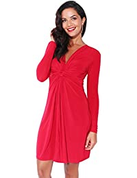 KRISP 9878-DK/RED-18: Ruched Drape Stretch Front Twist Knot Shift Mini Dress Tie Belted Party Work