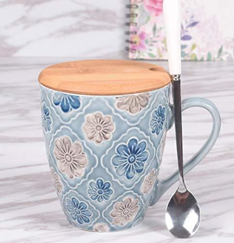 MugDisne qecdp* Keramiktasse Nordic Wasser Tasse Becher große Kapazität mit Deckel Löffel Kaffeetasse früh frisch geprägte kleine Mahlzeit Tasse Erwachsenen Keramik weiblich(350ml-450ml)
