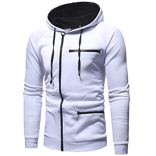 BaZhaHei Herren Langarmshirt Herren Herbst Solid Langarm Hoodie Sweatshirt Top Outwear Pullover...