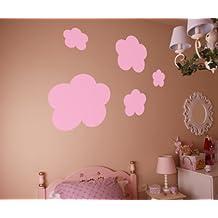Vinilos decorativos de nubes 38x38 cms Rosa