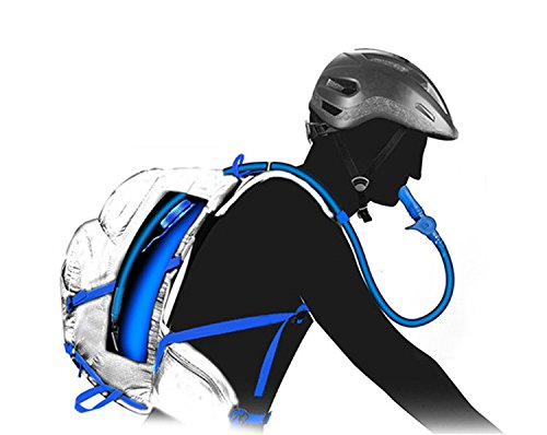 haoyk 5L wasserdicht Rucksack Leicht Trinkblase Bag Sport Water Bag (2L) mit reflektierend für Frauen Herren Laufen Ski Wandern Fahrrad Mountain Blau
