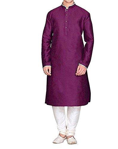 Royal Kurta Men's Silk Blend Kurta Churidar Set, purple