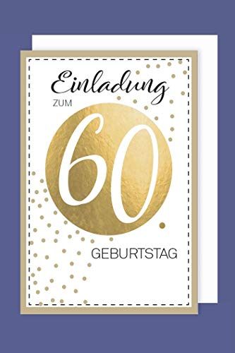 AvanCarte Einladungskarte 60 Geburtstag 5er Set Golddruck Punkte 5 Karten 15x11cm