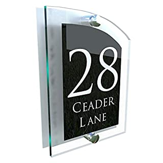 MODERN HOUSE SIGN PLAQUE DOOR NUMBER STREET GLASS EFFECT ACRYLIC ALUMINIUM NAME ARCA5-28WB-S-C