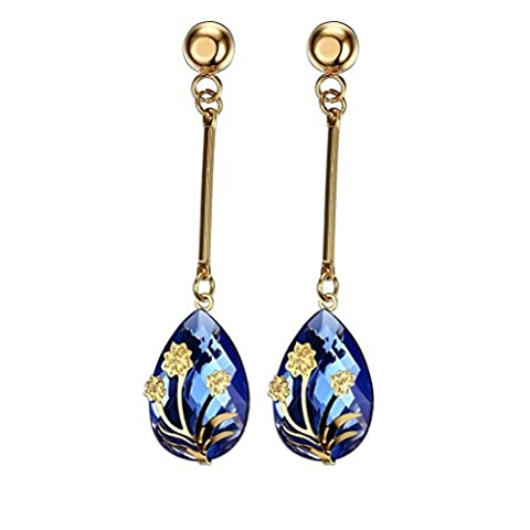Vnox Women's Girl's Stainless Steel Long Dangle Flower Inlay Blue Crystal Trendy Drop Earrings Gold
