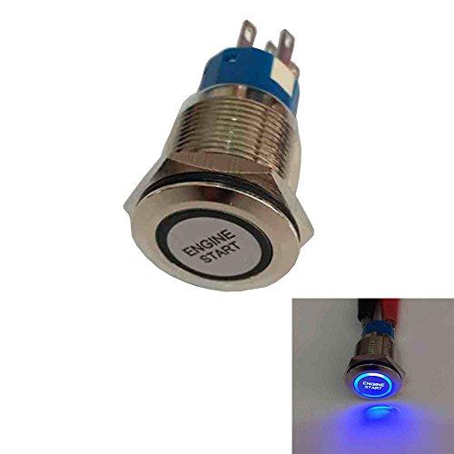 Mintice 19mm bleu LED 12V bouton poussoir voiture métal interrupteur momentané Lumière intérieure Engine Start