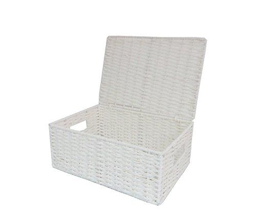 Ablagekorb aus Papierkordel mit Deckel von Arpan, weiß, natur, M (White Single Kommode)